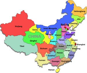 Color map of China with regions on a white background